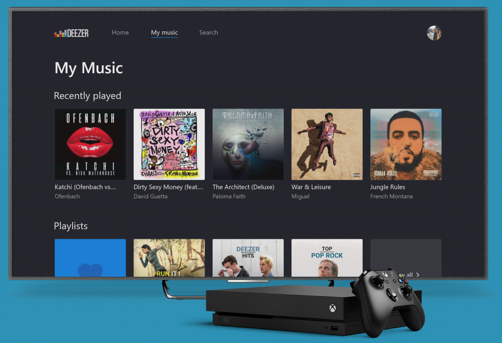 deezr music streaming on xbox one